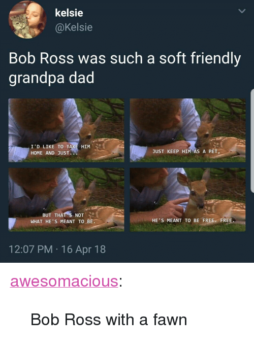 "Dad, Tumblr, and Grandpa: kelsie  @Kelsie  Bob Ross was such a soft friendly  grandpa dad  I'D LIKE TO TAKE HIM  HOME AND JUST.  JUST KEEP HIM""AS A PET」  BUT THATS NOT.  WHAT HE'S MEANT TO BE  TO BE FREE FREE  HE'S MEANT  12:07 PM 16 Apr 18 <p><a href=""http://awesomacious.tumblr.com/post/173496961491/bob-ross-with-a-fawn"" class=""tumblr_blog"">awesomacious</a>:</p>  <blockquote><p>Bob Ross with a fawn</p></blockquote>"