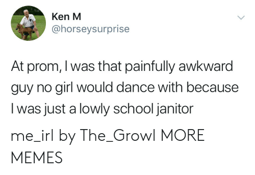 Dank, Ken, and Memes: Ken M  @horseysurprise  At prom, I was that painfully awkward  guy no girl would dance with because  I was just a lowly school janitor me_irl by The_Growl MORE MEMES