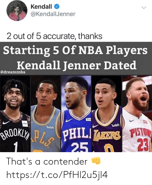 Kendall Jenner, Nba, and Kendall: Kendall  @KendallJenner  2 out of 5 accurate, thanks  Starting 5 Of NBA Players  Kendall Jenner Dated  @dreamznba  wish  wish  BROOKLY PPHILI  1  23  25 n That's a contender 👊 https://t.co/PfHl2u5jl4