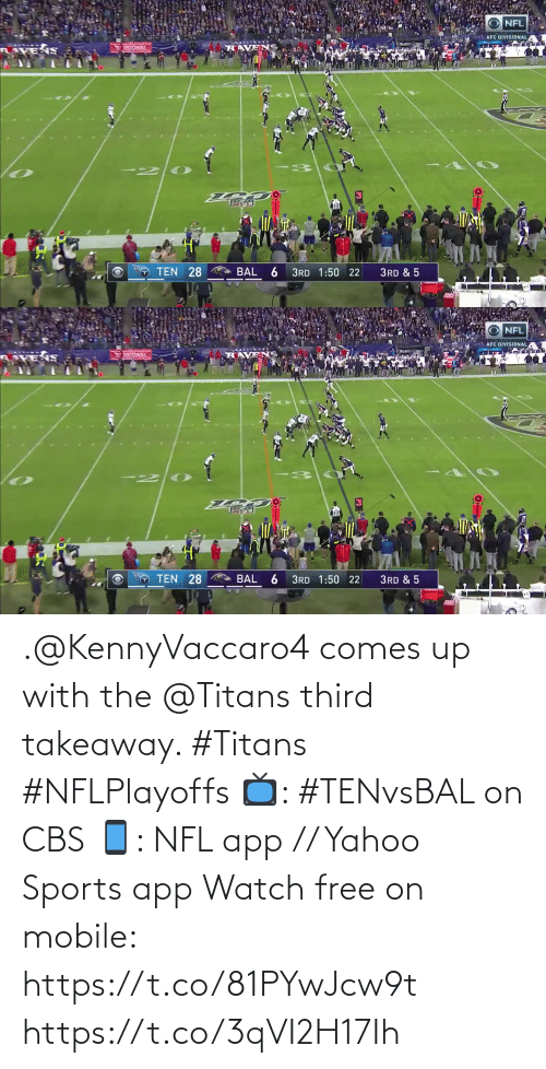 titans: .@KennyVaccaro4 comes up with the @Titans third takeaway. #Titans #NFLPlayoffs  📺: #TENvsBAL on CBS 📱: NFL app // Yahoo Sports app Watch free on mobile: https://t.co/81PYwJcw9t https://t.co/3qVI2H17Ih