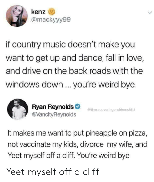 Fall, Love, and Music: kenz  @mackyyy99  if country music doesn't make you  want to get up and dance, fall in love,  and drive on the back roads with the  windows down ... you're weird bye  Ryan Reynolds  @VancityReynolds  therecoveringproblemchild  It makes me want to put pineapple on pizza,  not vaccinate my kids, divorce my wife, and  Yeet myself off a cliff. You're weird bye Yeet myself off a cliff