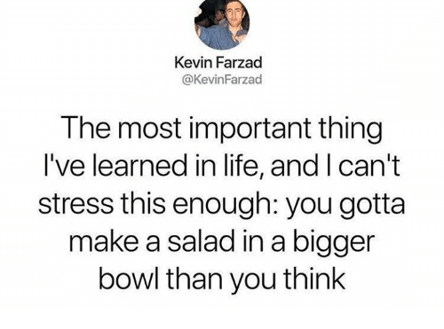Life, Humans of Tumblr, and Bowl: Kevin Farzad  @KevinFarzad  The most important thing  I've learned in life, and I can't  stress this enough: you gotta  make a salad in a bigger  bowl than you think
