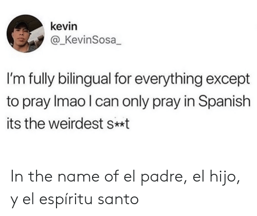 pray: kevin  @_KevinSosa  I'm fully bilingual for everything except  to pray Imao I can only pray in Spanish  its the weirdest s*t In the name of el padre, el hijo, y el espíritu santo