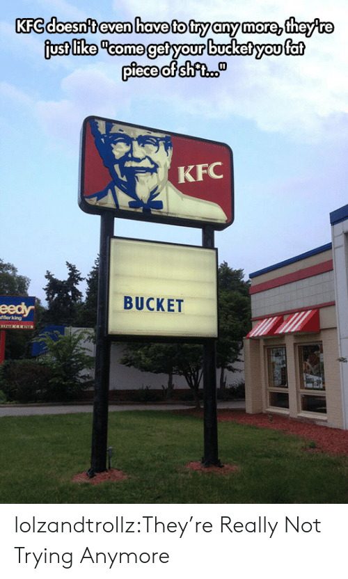 "Kfc, Tumblr, and Blog: KFC doesn't even have to try any more, theyre  just like ""come get your bucket you fat  piece of shfi.  KFC  BUCKET  eedy  fflerking lolzandtrollz:They're Really Not Trying Anymore"