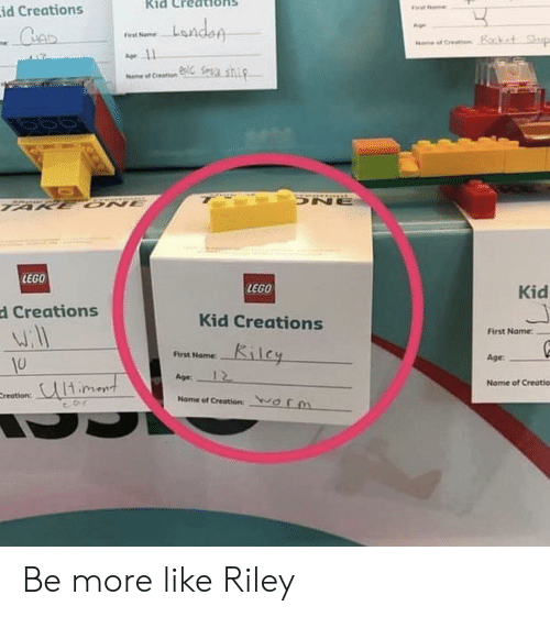 Lego, Creation, and Name: Kid Creations  id Creations  A 11  Sea ship  LEGO  LEGO  Kid  d Creations  Kid Creations  First Name:  u lI  First Name-Kiley  Age  Age  Name of Creatio  reatio  None of Creation: Be more like Riley