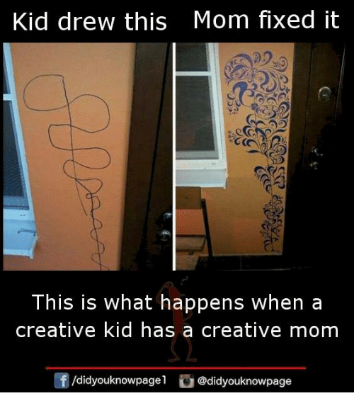 Drewing: Kid drew this Mom fixed it  This is what happens when a  creative kid has a creative mom  /didyouknowpagel @didyouknowpage