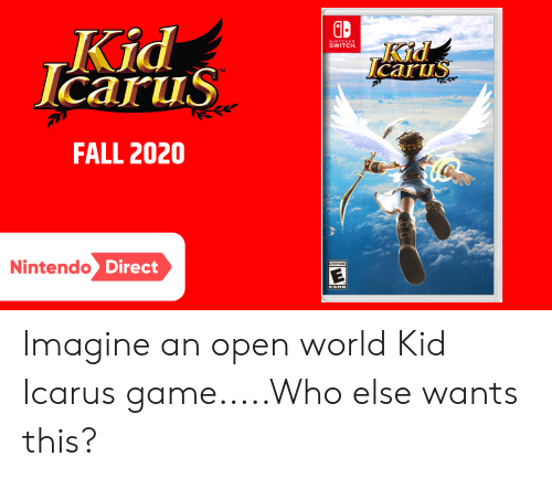 Fall, Nintendo, and Game: Kid  lcarus  NINTEND O  SWITCH  Kid  Icarus  TM  FALL 2020  Nintendo Direct  EVERYONE  ESRB Imagine an open world Kid Icarus game.....Who else wants this?