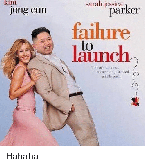 nesting: kim  Jong eun  Sarah jessica  parker  failure  to  To leave the nest,  some men just need  a little push, Hahaha