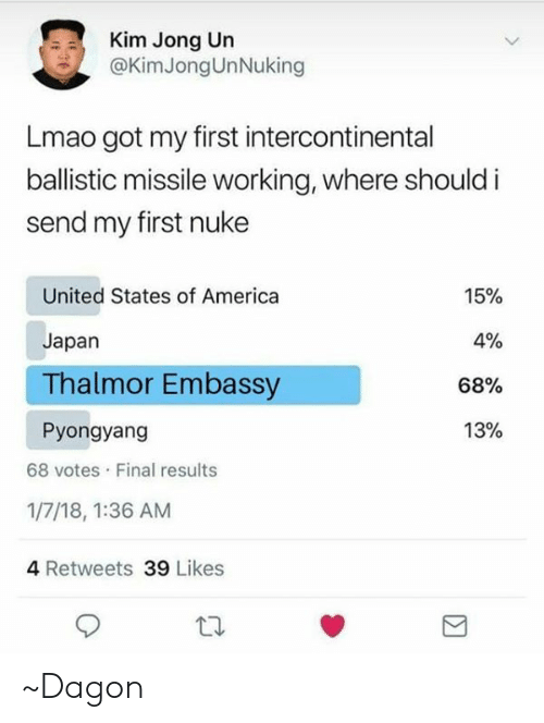 America, Kim Jong-Un, and Lmao: Kim Jong Un  @KimJongUnNuking  Lmao got my first intercontinental  ballistic missile working, where should i  send my first nuke  United States of America  Japan  Thalmor Embassy  Pyongyang  15%  0%  68%  13%  68 votes Final results  1/7/18, 1:36 AM  4 Retweets 39 Likes ~Dagon