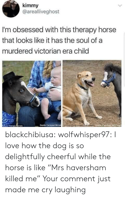 """Love, Tumblr, and Blog: kimmy  @arealliveghost  I'm obsessed with this therapy horse  that looks like it has the soul of a  murdered victorian era child  ure Therapy  Gentle Carousel Minat blackchibiusa:  wolfwhisper97:  I love how the dog is so delightfully cheerful while the horse is like """"Mrs haversham killed me""""   Your comment just made me cry laughing"""