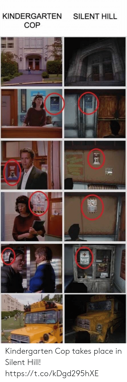Video Games, Kindergarten Cop, and Silent Hill: KINDERGARTEN SILENT HILL  COP Kindergarten Cop takes place in Silent Hill! https://t.co/kDgd295hXE