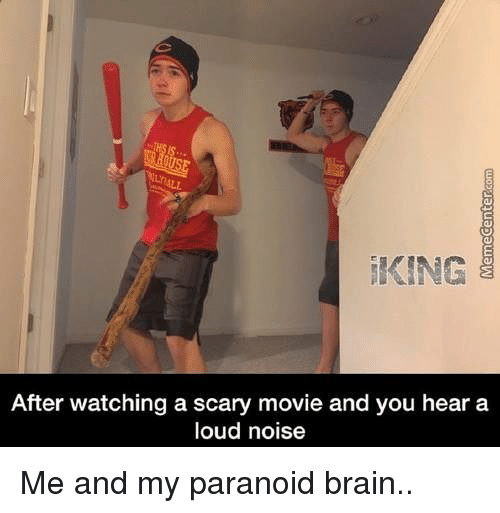 scari movie: KING  After watching a scary movie and you hear a  loud noise Me and my paranoid brain..