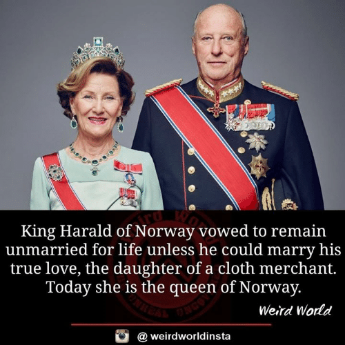 Life, Love, and Memes: King Harald of Norway vowed to remain  unmarried for life unless he could marry his  true love, the daughter of a cloth merchant.  Today she is the queen of Norway.  Weird World  @ weirdworldinsta