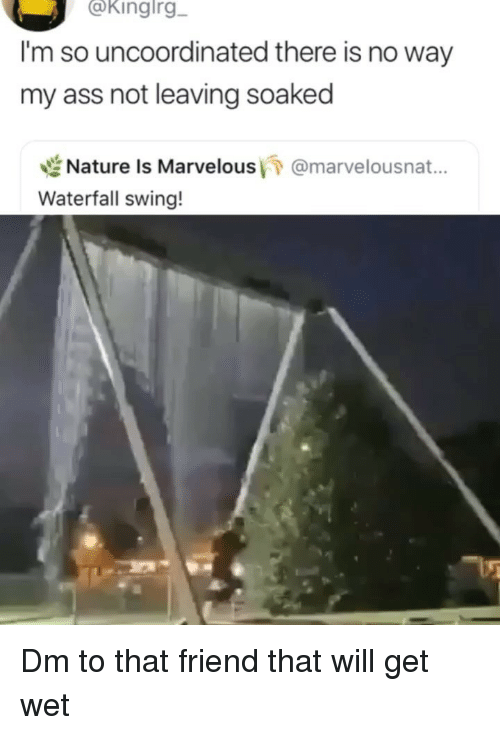 Marvelous: @kingirg  I'm so uncoordinated there is no way  my ass not leaving soaked  世Nature is Marvelous/7 @marvelousnat..  Waterfall swing! Dm to that friend that will get wet