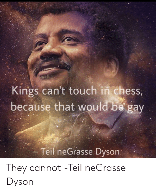 Chess: Kings can't touch in chess,  because that would be gay  Teil neGrasse Dyson They cannot -Teil neGrasse Dyson