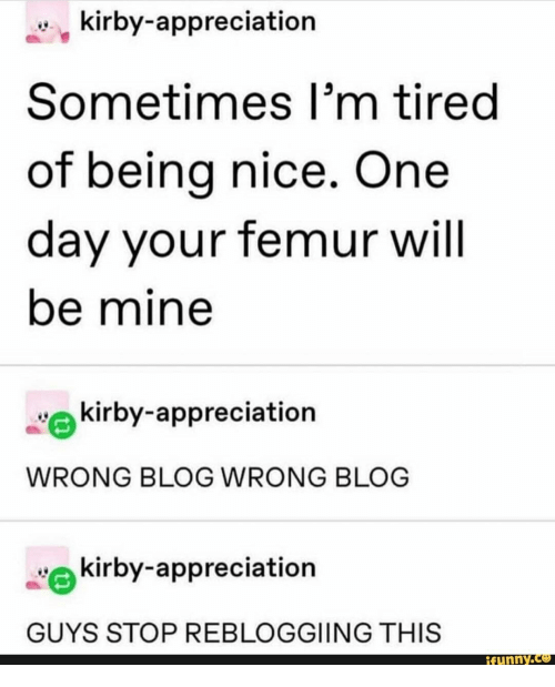 appreciation: kirby-appreciation  Sometimes I'm tired  of being nice. One  day your femur will  be mine  kirby-appreciation  WRONG BLOG WRONG BLOG  kirby-appreciation  GUYS STOP REBLOGGIING THIS  ifunny.co