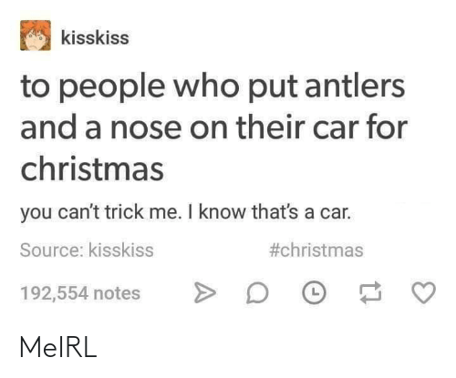 Christmas, MeIRL, and Car: kisskiss  to people who put antlers  and a nose on their car for  christmas  you can't trick me. I know that's a car.  #christmas  Source: kisskiss  192,554 notes MeIRL