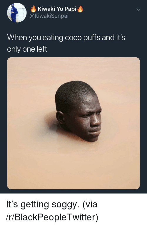 Blackpeopletwitter, CoCo, and Yo: Kiwaki Yo Papi  @KiwakiSenpai  When you eating coco puffs and it's  only one left It's getting soggy. (via /r/BlackPeopleTwitter)