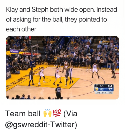 Basketball, Nba, and Sports: Klay and Steph both wide open. Instead  of asking for the ball, they pointed to  each other  SA 64  GS 77  3rd 844 :13  29 Team ball 🙌💯 (Via @gswreddit-Twitter)