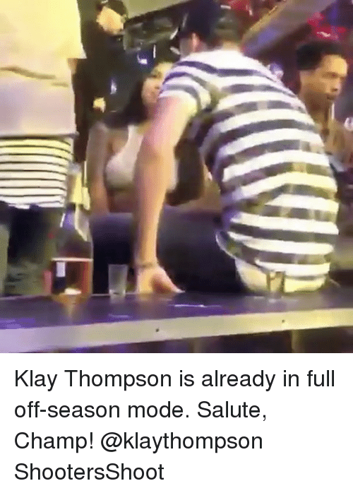 Basketball, Golden State Warriors, and Klay Thompson: Klay Thompson is already in full off-season mode. Salute, Champ! @klaythompson ShootersShoot