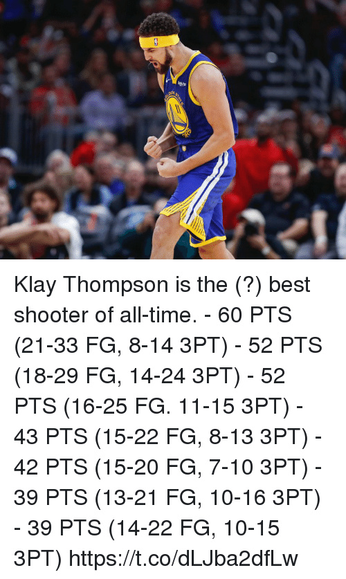 Klay Thompson, Memes, and Best: Klay Thompson is the (?) best shooter of all-time.  - 60 PTS (21-33 FG, 8-14 3PT) - 52 PTS (18-29 FG, 14-24 3PT) - 52 PTS (16-25 FG. 11-15 3PT) - 43 PTS (15-22 FG, 8-13 3PT) - 42 PTS (15-20 FG, 7-10 3PT) - 39 PTS (13-21 FG, 10-16 3PT) - 39 PTS (14-22 FG, 10-15 3PT) https://t.co/dLJba2dfLw