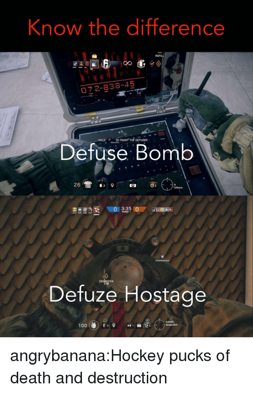Hockey, Tumblr, and Blog: Know the difference  REFLL  6  0Z 2-838-45  HOLD PNT THE DEFUSER  Defuse Bomb  凶  ERGREIFEN  Defuze Hostage  AUSSEN  1003 angrybanana:Hockey pucks of death and destruction