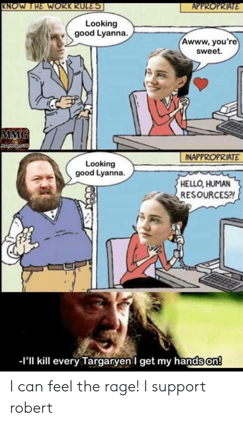 the rage: KNOW THE WOKK KUL  Looking  good Lyanna.  Awww, you're  sweet.  NAPPROPRIATE  Looking  good Lyanna.  HELLO, HUMAN  RESOURCES?  -I'll kill every Targaryen I get my hands on!   I can feel the rage! I support robert
