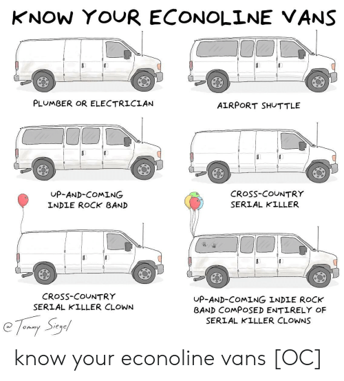 plumber: KNOW YOUR ECONOLINE VANS  PLUMBER OR ELECTRICIAN  AIRPORT SHUTTLE  UP-AND-COMING  INDLE ROCK BAND  CRoSs-COUNTRY  SERIAL KILLER  CRosS-COUNTRY  SERIAL KILLER CLOWN  UP-AND-COMING INDLE ROCK  BAND COMPOSED ENTIRELY OF  SERIAL KILLER CLOWNS know your econoline vans [OC]