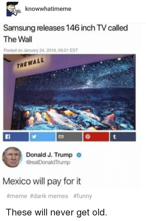 It Meme: knowwhatimeme  Samsung releases 146 inch TV called  The Wall  Posted on January 24, 2019, 0921 EST  THEWALL  Donald J. Trump  @realDonaldTrump  .  Mexico ll pay for it  #meme#dank memes  These will never get old.