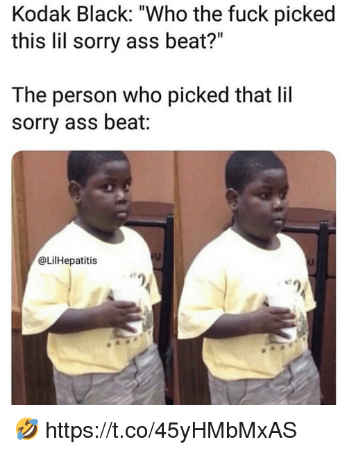 """Ass, Sorry, and Black: Kodak Black: """"Who the fuck picked  this lil sorry ass beat?""""  The person who picked that lil  sorry ass beat:  @LilHepatitis 🤣 https://t.co/45yHMbMxAS"""