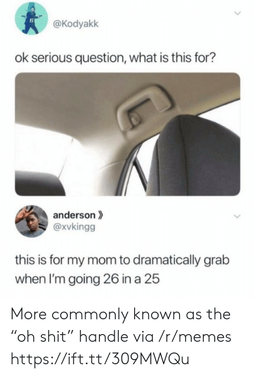 """what is this: @Kodyakk  ok serious question, what is this for?  anderson  @xvkingg  this is for my mom to dramatically grab  when I'm going 26 in a 25  > More commonly known as the """"oh shit"""" handle via /r/memes https://ift.tt/309MWQu"""