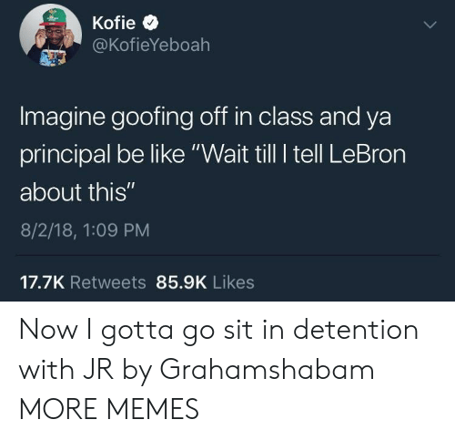 """Be Like, Dank, and Memes: @KofieYeboah  Imagine goofing off in class and ya  principal be like """"Wait till I tell LeBron  about this""""  8/2/18, 1:09 PM  17.7K Retweets 85.9K Likes Now I gotta go sit in detention with JR by Grahamshabam MORE MEMES"""