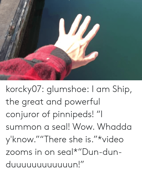 "Target, Tumblr, and Wow: korcky07:  glumshoe: I am Ship, the great and powerful conjuror of pinnipeds!  ""I summon a seal! Wow. Whadda y'know.""""There she is.""*video zooms in on seal*""Dun-dun-duuuuuuuuuuuun!"""