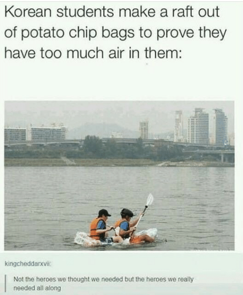 raft: Korean students make a raft out  of potato chip bags to prove they  have too much air in them:  kingcheddarxvii:  Not the heroes we thought we needed but the heroes we really  needed all along