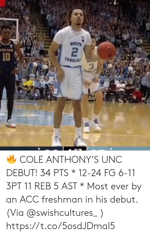 Memes, 🤖, and Unc: KORTS  2  10  CARLIA  3  ta 🔥 COLE ANTHONY'S UNC DEBUT!   34 PTS * 12-24 FG 6-11 3PT 11 REB 5 AST   * Most ever by an ACC freshman in his debut.   (Via @swishcultures_ )    https://t.co/5osdJDmaI5