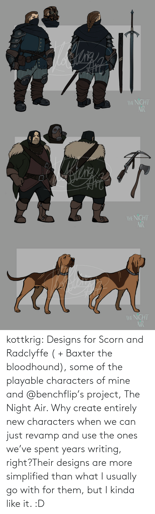 Spent: kottkrig:  Designs for Scorn and Radclyffe ( + Baxter the bloodhound), some of the playable characters of mine and @benchflip's project, The Night Air. Why create entirely new characters when we can just revamp and use the ones we've spent years writing, right?Their designs are more simplified than what I usually go with for them, but I kinda like it. :D