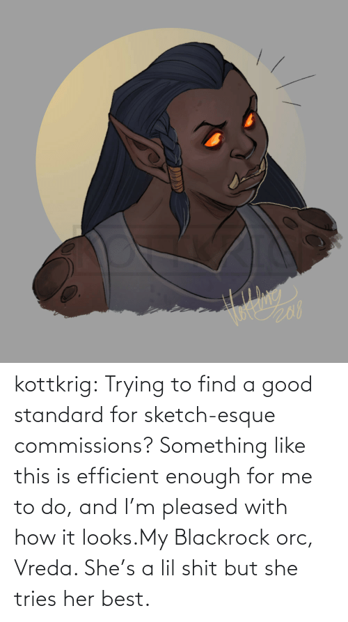 For Me: kottkrig:  Trying to find a good standard for sketch-esque commissions? Something like this is efficient enough for me to do, and I'm pleased with how it looks.My Blackrock orc, Vreda. She's a lil shit but she tries her best.