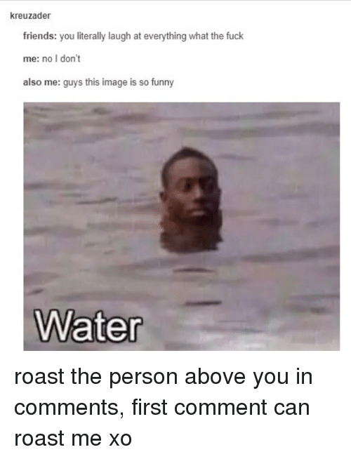Roastes: kreuzader  friends: you literally laugh at everything what the fuck  me: no I don't  also me: guys this image is so funny  Water roast the person above you in comments, first comment can roast me xo
