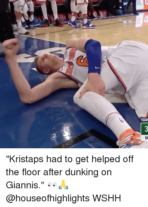 "dunking: ""Kristaps had to get helped off the floor after dunking on Giannis."" 👀🙏 @houseofhighlights WSHH"