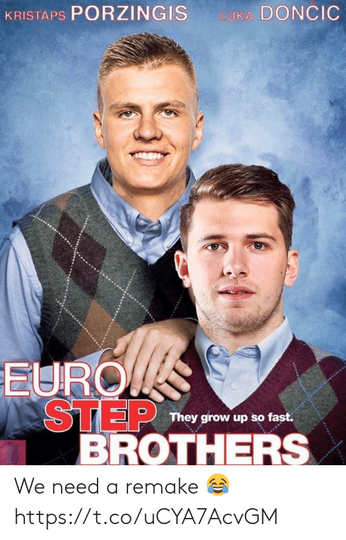 Remake: KRISTAPS PORZINGIS  LUKA DONCIC  EURO  STEP  BROTHERS  They grow up so fast. We need a remake 😂 https://t.co/uCYA7AcvGM