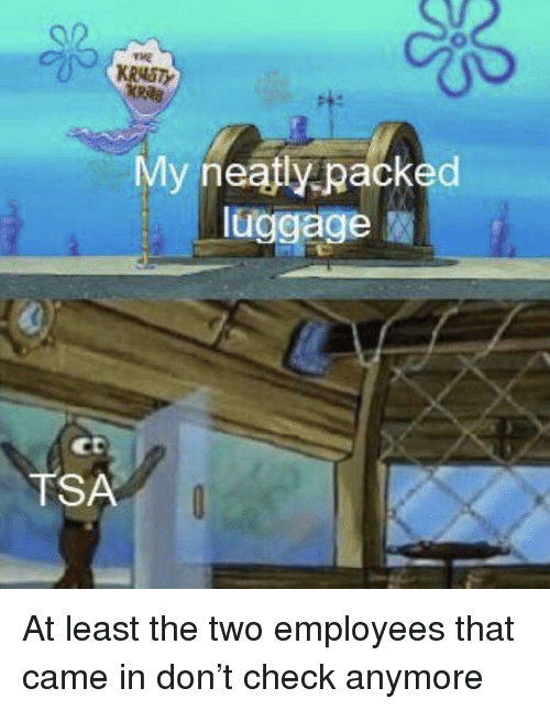 Luggage, Tsa, and Don: KRNSTY  KRaB  My neaftly packed  luggage  Ct  TSA At least the two employees that came in don't check anymore