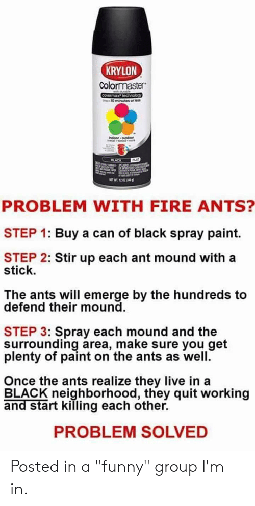 """Fire, Funny, and Black: KRYLON  Colormaster  ble  Covermax technology  10 minutes or less  Indoor outdoor  lwood  BLACK  FLAT  NET WT. 12 GZ (43  PROBLEM WITH FIRE ANTS?  STEP 1: Buy a can of black spray paint.  STEP 2: Stir up each ant mound with a  stick.  The ants will emerge by the hundreds to  defend their mound.  STEP 3: Spray each mound and the  surrounding area, make sure you get  plenty of paint on the ants as well.  Once the ants realize they live in a  BLACK neighborhood, they quit working  and start killing each other.  PROBLEM SOLVED Posted in a """"funny"""" group I'm in."""