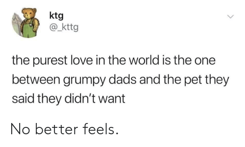 Love, World, and Pet: ktg  @ kttg  the purest love in the world is the one  between grumpy dads and the pet they  said they didn't want No better feels.