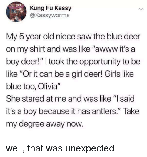 "Be Like, Deer, and Girls: Kung Fu Kassy  @Kassyworms  0  My 5 year old niece saw the blue deer  on my shirt and was like ""awww it's a  boy deer!"" I took the opportunity to be  like ""Or it can be a girl deer! Girls like  blue too, Olivia""  She stared at me and was like ""I said  it's a boy because it has antlers."" Take  my degree away now. well, that was unexpected"