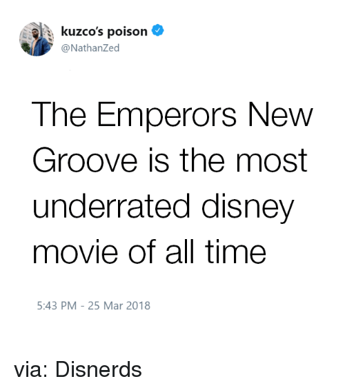 Emperor's New Groove: : kuzco's poison  @NathanZed  The Emperors New  Groove is the most  underrated disney  movie of all time  5:43 PM-25 Mar 2018 via: Disnerds