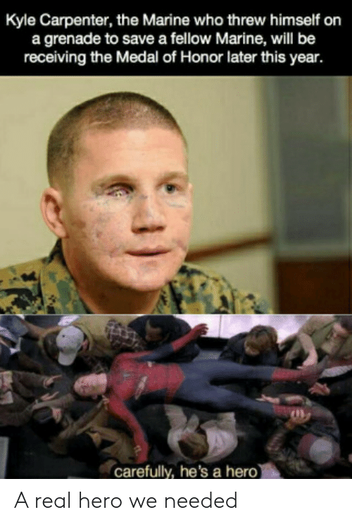 the marine: Kyle Carpenter, the Marine who threw himself on  a grenade to save a fellow Marine, will be  receiving the Medal of Honor later this year.  carefully, he's a hero) A real hero we needed