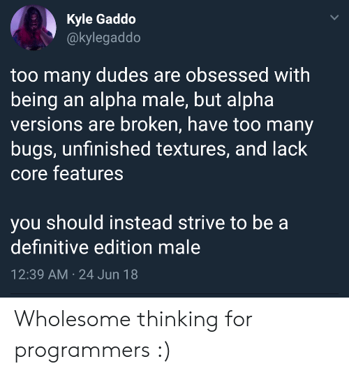 core: Kyle Gaddo  @kylegaddo  too many dudes are obsessed with  being an alpha male, but alpha  versions are broken, have too many  bugs, unfinished textures, and lack  core features  you should instead strive to be a  definitive edition male  12:39 AM 24 Jun 18  > Wholesome thinking for programmers :)