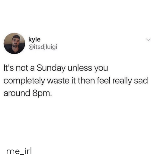 Sunday, Sad, and Irl: kyle  @itsdjluigi  It's not a Sunday unless you  completely waste it then feel really sad  around 8pm. me_irl