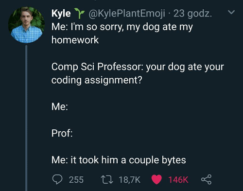 Sorry, Homework, and Dog: Kyle@KylePlantEmoji 23 godz.  Me: I'm so sorry, my dog ate my  homework  Comp Sci Professor: your dog ate your  coding assignment?  Me:  Prof:  Me: it took him a couple bytes  t 18,7K 146K  255