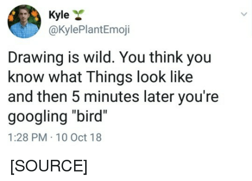 "10 Oct: Kyle *  @KylePlantEmoji  Drawing is wild. You think you  know what Things look like  and then 5 minutes later you're  googling ""bird""  1:28 PM-10 Oct 18 [SOURCE]"